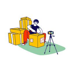 Online parcel unpacking concept influencer male vector
