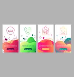 online shop abstract fluid mobile app screen vector image