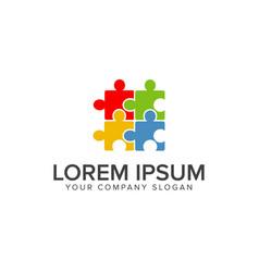 puzzle logo multicolor logo design concept vector image