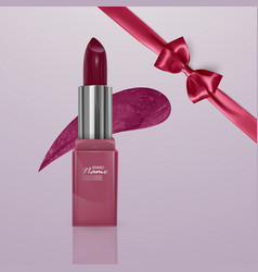 Realistic lipstick of cherry color with realistic vector