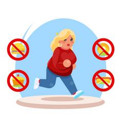 running fat female diet character health refusal vector image
