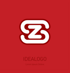 s and z initial logo sz - design element or icon vector image