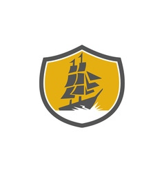 Sailing Galleon Tall Ship Crest Retro vector image