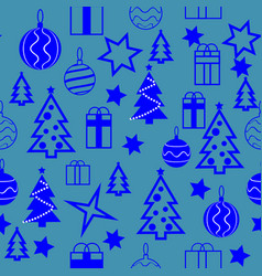 seamless christmas and new year s pattern winter vector image