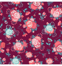 Seamless pattern with a bouquet of roses vector