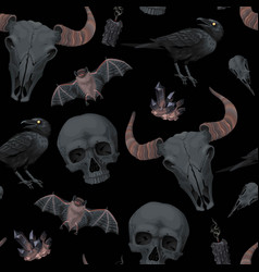 Seamless pattern with raven and human skull vector
