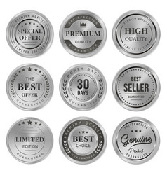 set metal badges labels quality product vector image