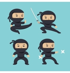 set ninja characters showing different actions vector image