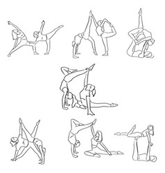 set of fitness woman doing yoga with friend vector image