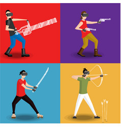 set of four men gaming in virtual reality glasses vector image