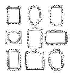 Set of hand drawn frames vintage photo frames on vector