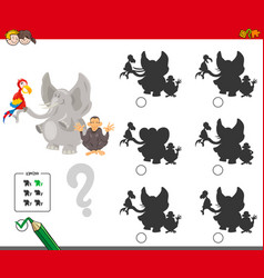 shadows game with cartoon animal characters vector image