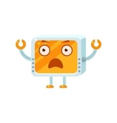 Shocked Little Robot Character vector image