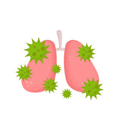 Sick unhealthy lungs with disease vector