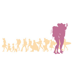 Silhouette of traveling girls with backpacks vector