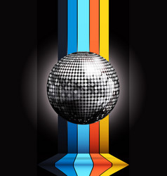 Silver disco ball on multicoloured stripes over vector