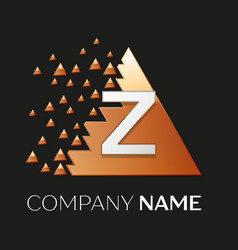 Silver letter z logo symbol in the triangle shape vector