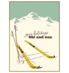 Ski equipment in the snow vector