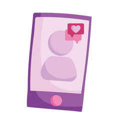 smartphone love message speech bubble isolated vector image
