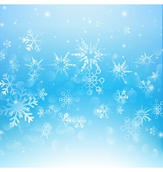 Snow fall with bokeh abstract blue background vector