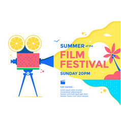 summer film festival poster design cinema banner vector image