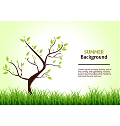 summer landscape tree on a background green vector image