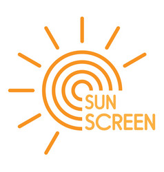 Sun uv screen logo flat style vector