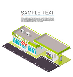 supermarket with petrol station on the roadside vector image