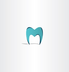 Tooth icon letter m logo vector