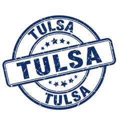 Tulsa blue grunge round vintage rubber stamp vector