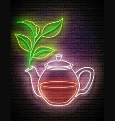 vintage glow signboard with glass tea pot vector image