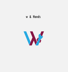 W- letter abstract icon amp hands logo design vector