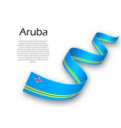 Waving ribbon or banner with flag of aruba vector