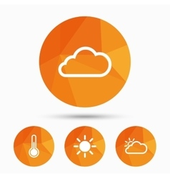 Weather icons Cloud and sun Temperature symbol vector