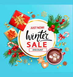 winter 2020 sale banner invitation card vector image