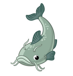 With cute catfish on a white vector