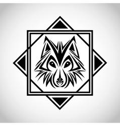 wolf tattoo animal design vector image