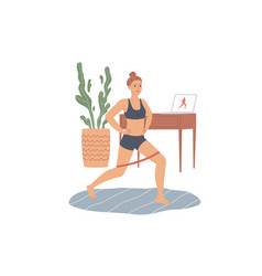woman does lunges with a rubber loop resistance vector image