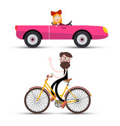 Woman in pink cabriolet car and mak on bicycle vector
