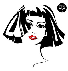Woman with red lips fashion portrait vector