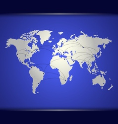 World map of blue networking vector