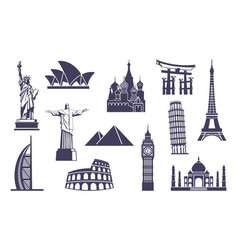 World sights icons architectural sights of vector
