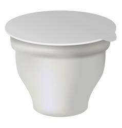 Yogurt white box mockup realistic style vector
