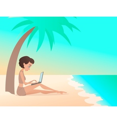 Young girl freelancer working outdoors on the vector image