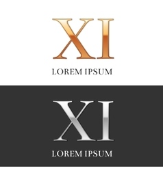 11 XI Luxury Gold and Silver Roman numerals vector image