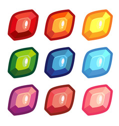 a set of colored sheet shape gems vector image vector image