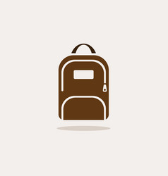 backpack icon with shadow on beige background vector image vector image