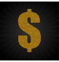 Gold golden sequin dollar usd money label vector