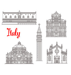 italy architecture buildings icons vector image vector image