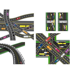set of abstract road junction crossing of various vector image